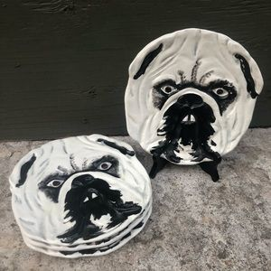 Handmade Italian Dog Plate Set of 4
